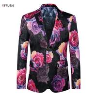 YFFUSHI New Fashion Men Suit Jacket Flower Printing Two Buttons Blazer Party Presenter Dress Slim Fit Fashion Design Plus 6XL