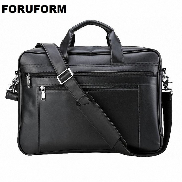 Men Leather Briefcase 17 Inch Laptop Bag Male Genuine Handbags Multifunction S
