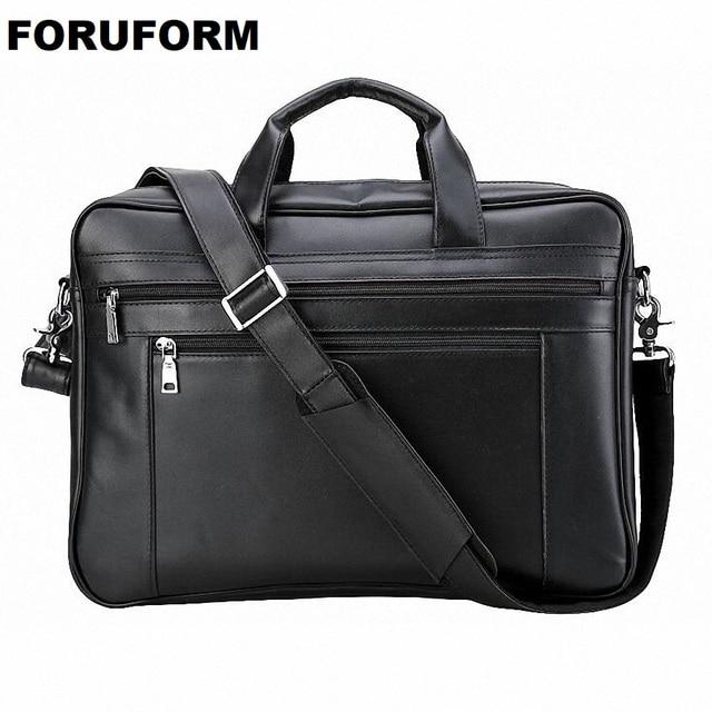 Men Leather Briefcase 17 Inch Laptop Bag Male Genuine Handbags Multifunction S Travel Shoulder