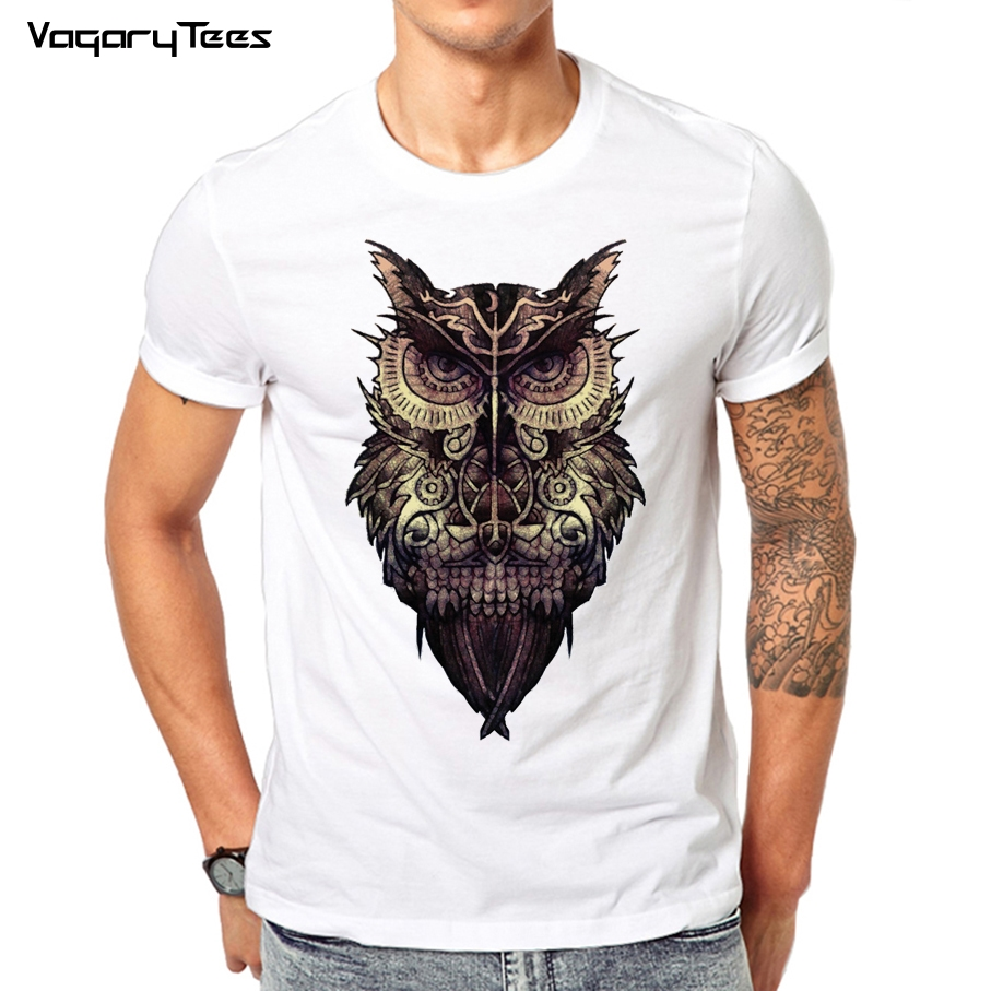 Newest 2019 Men's Fashion Short Sleeve Night Warrior Owl Printed T-shirts Funny Tattoo Tee Shirts Hipster O-neck Popular Tops