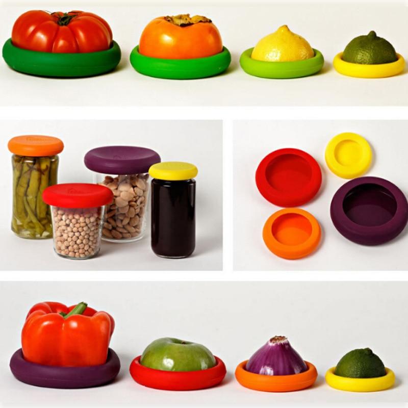 4 unids/set Fruta Vegetal Nuevo Protector de La Cubierta de Silicona Alimentos V