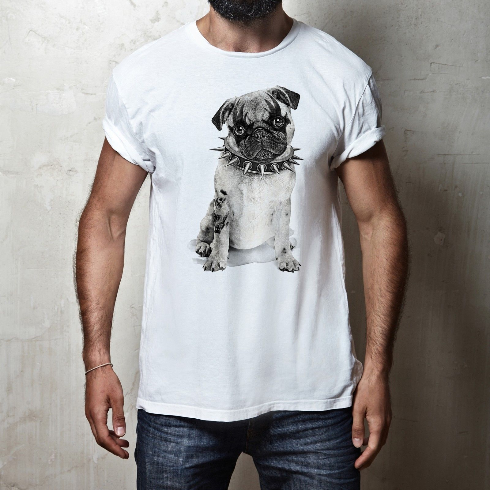 FUNNY HEAVY METAL PUG CUTE PET ANIMAL DOG MENS amp WOMENS FIT T SHIRT TEE TOP New T Shirts Funny Tops Tee New Unisex Funny Tops in T Shirts from Men 39 s Clothing