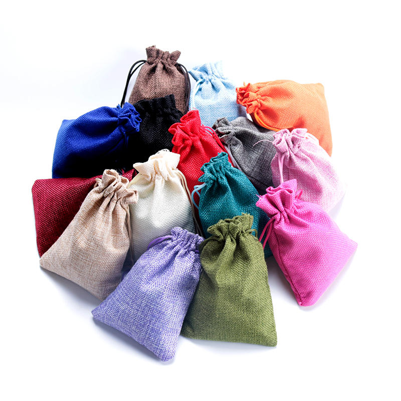 Wedding Gift Pouches: Wholesale 7x9cm Jute Drawstring Bags Pouches Jewelry Gift