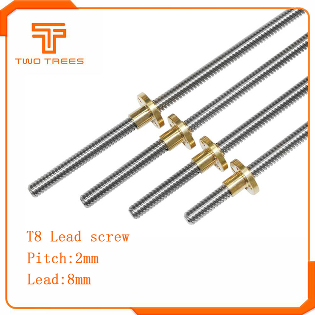 T8 สกรูตะกั่ว 100 มม. 150 มม. 250 มม. 300 มม. 330 มม. 350 มม. 3D เครื่องพิมพ์อะไหล่สกรูตะกั่ว 8mm Trapezoidal สกรูทองแดงถั่ว Leadscrew Part