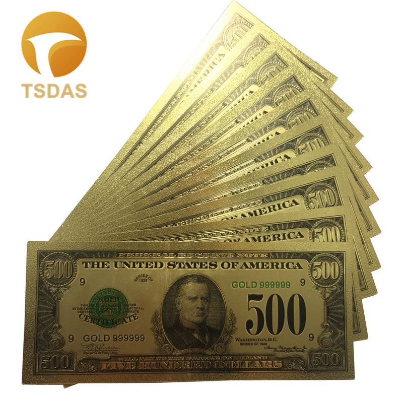 Colorful USA Banknotes 500 Dollar Bank Note In 24K Gold Plated For Gifts