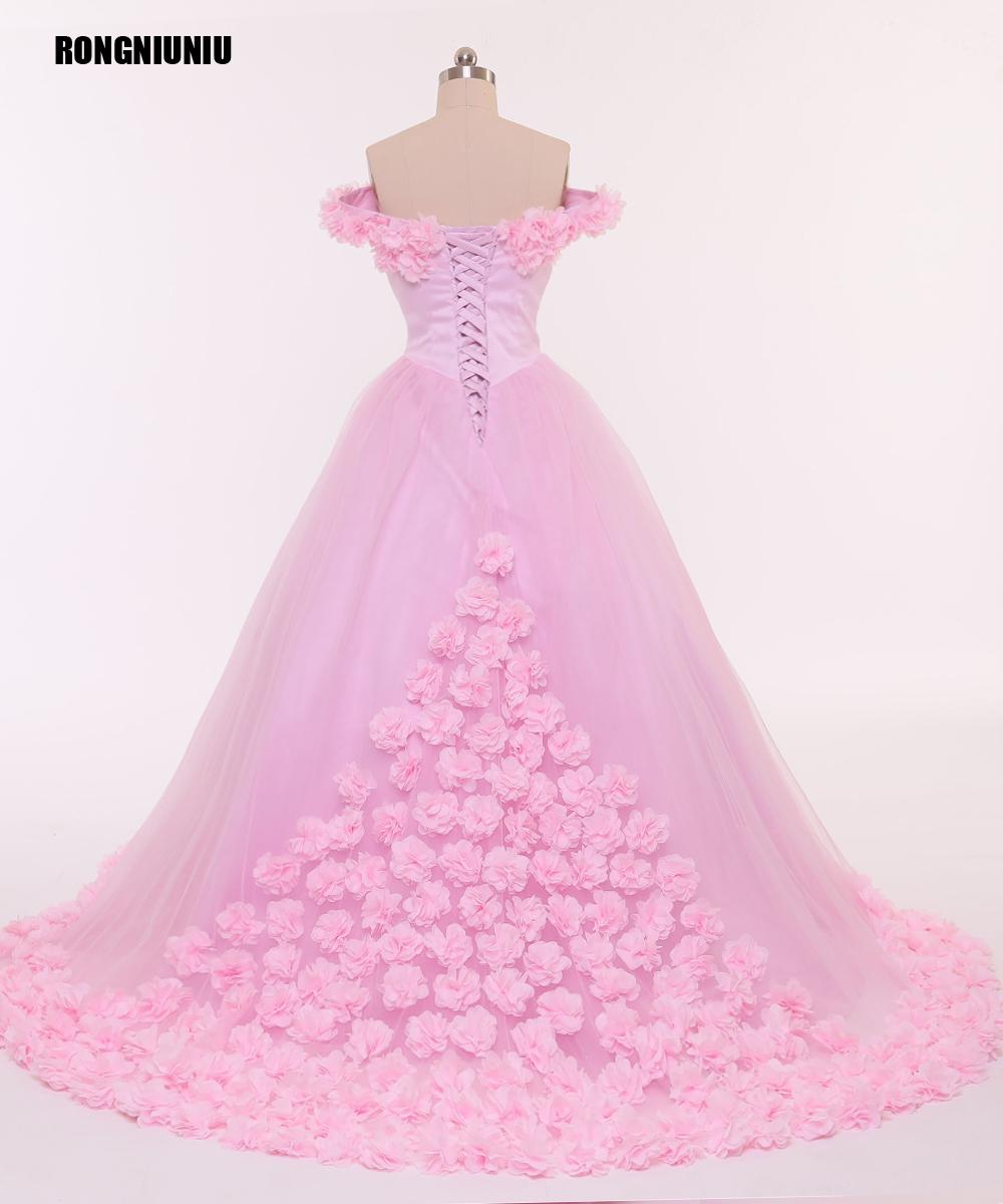 Vestido de novia 2017 Pink Flowers Lace Up A Line Sin Mangas ...