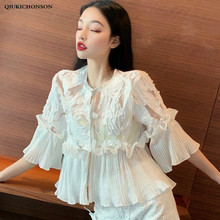 цены на Kawaii peplum blouse tops ladies vintage pleated ruffle mesh patchwork chiffon blouse shirt Casual summer tops  в интернет-магазинах