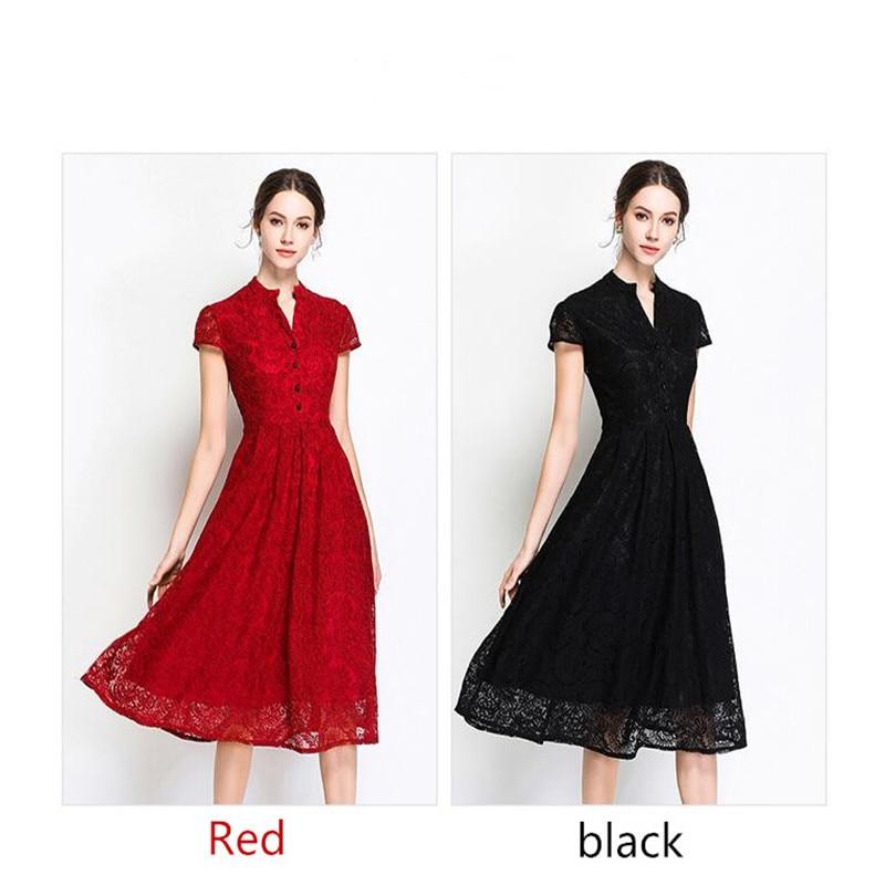 e716eeaeec9 Verano2019Women работы Повседневное офисные вечерние роковой Grande Taille  Лето миди красное кружевное платье в цветочек Vestido