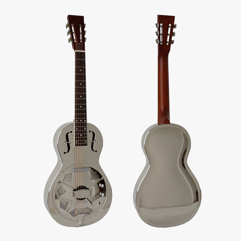 Aiersi Brand Chrome Bell Brass Electrical Parlour Resonator Guitar left hand available Free guitar Case TRG10E