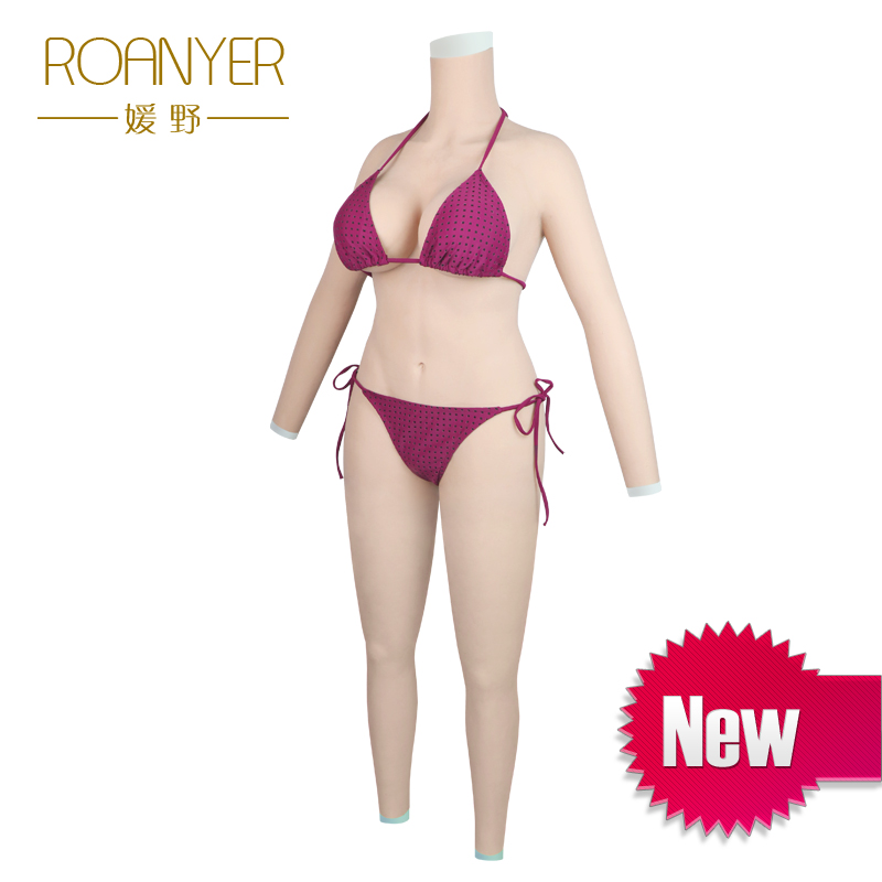 Roanyer transgender silicone breast forms shemale whole body suits with arms fake boobs penetrable fake vagina