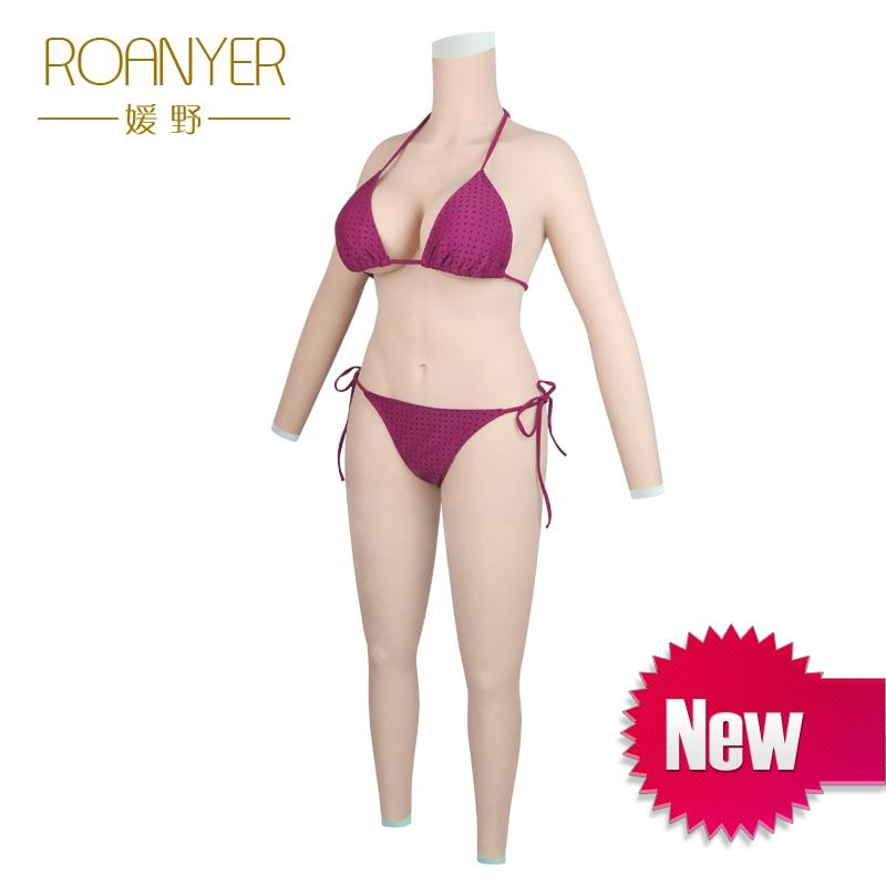 Roanyer transgenres prothèses mammaires en silicone transexuelle corps entier costumes avec bras faux seins pénétrable faux vagin pour crossdressing