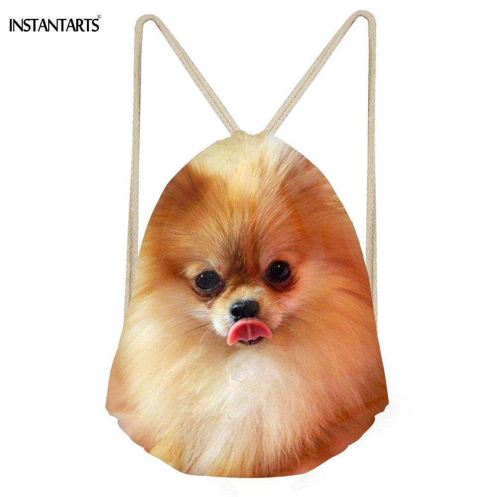 INSTANTARTS Kawaii 3D Dog Pomeranian Print Women Men Drawstrings Bags Multifunction Softback Backpakcs Storage Bags For Teenage