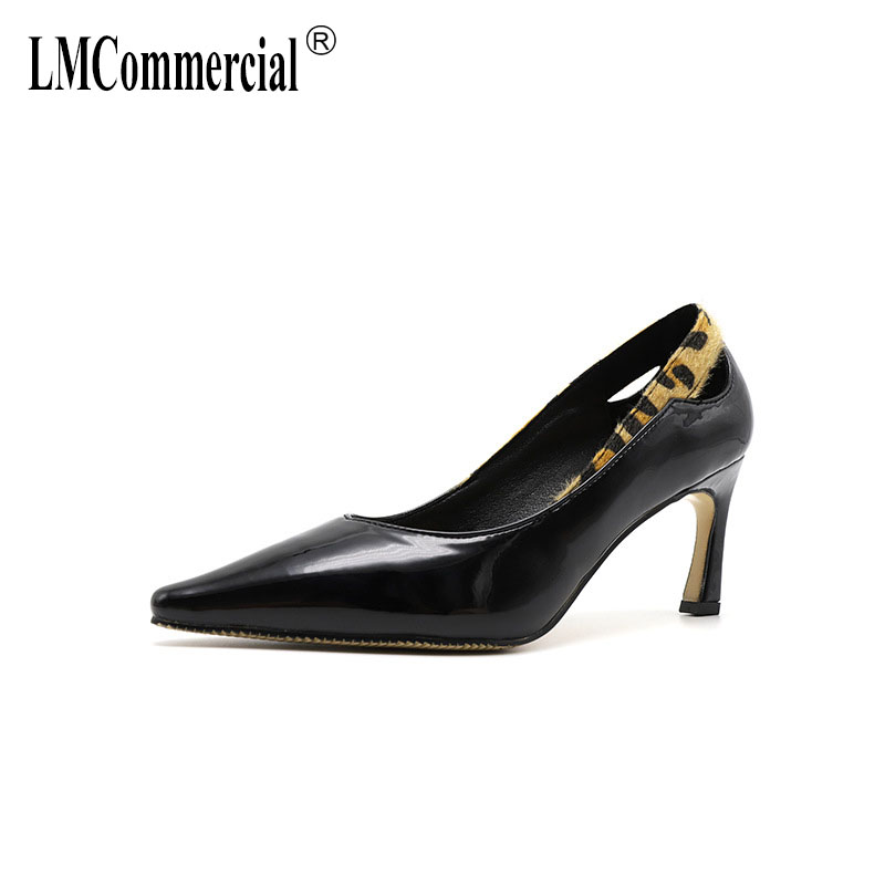 Spring lacquer leopard print fine heel fashion single shoe woman comfort simple low help shallow high heeled shoes Female