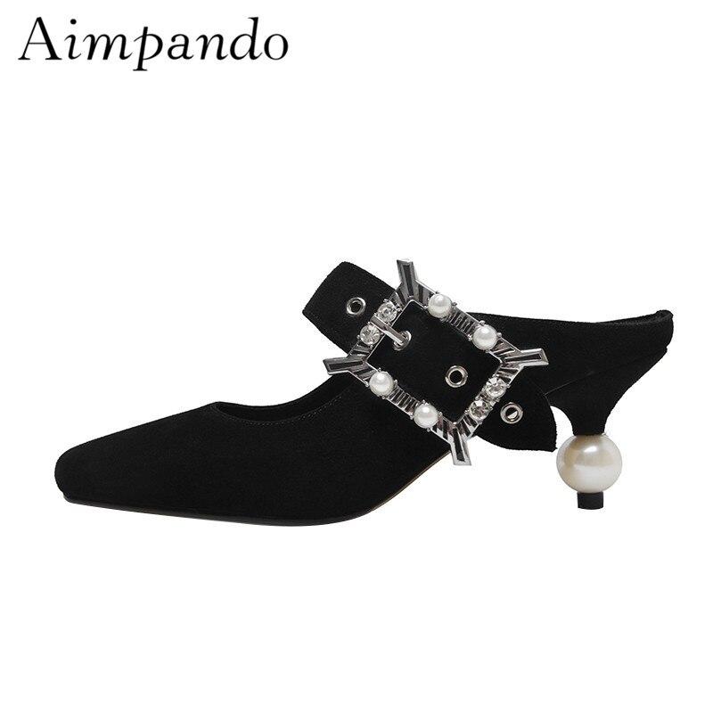 Individual Thin Heel String Bead Pumps Black Suede One Belt With Rhinestone Square Toe Slingbacks Heels Women