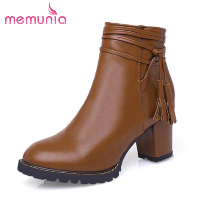 MEMUNIA 2016 new arrive simple women ankle boots thick heels round toe soft leather elegant women ankle boots big size 30-47 2016 new arrive high quality genuine leather high heels ankle boots fashion round toe simple leisure women autumn boots
