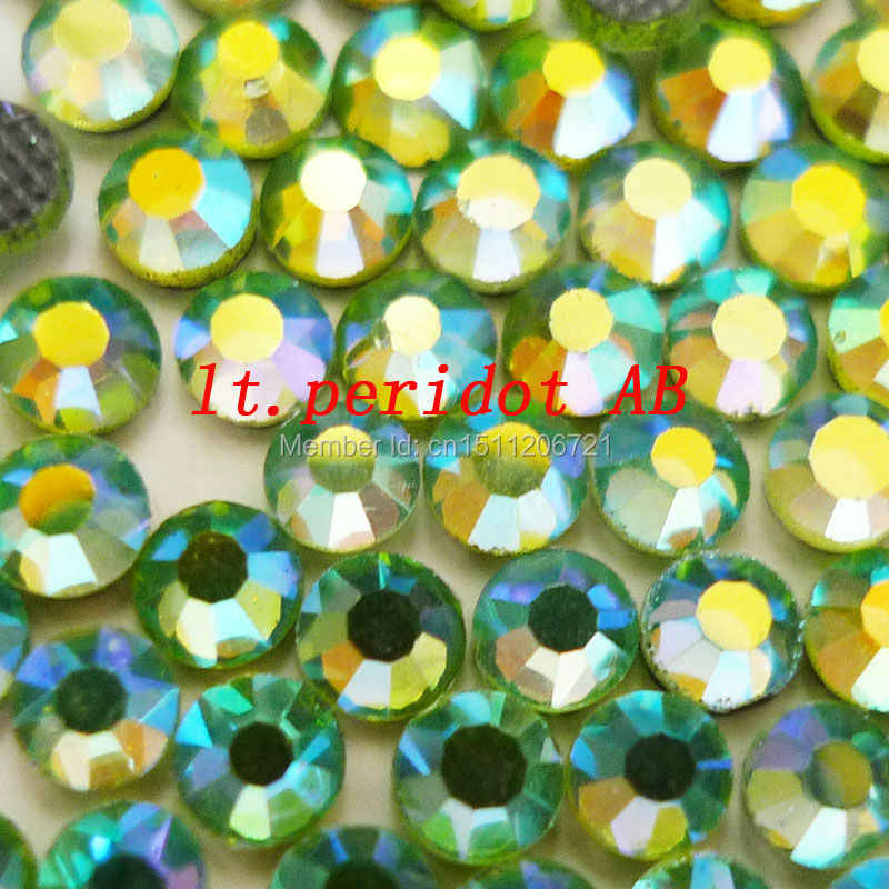 AAAA LT.Peridot AB DMC-Hotfix Rhinestones iron on Crystal FlatBack with glue SS10 SS16 SS20 Round Glass Stone shoes decorations