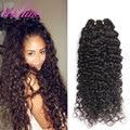 3 Pacotes Malásia Profunda Curly Virgem Cabelo Barato Do Cabelo Humano tecer Onda Profunda Pacotes Tecer Cabelo Malaio Remy Virgem Encaracolado cabelo