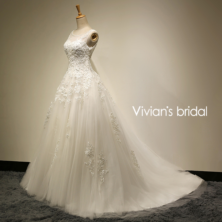 Vivian's Bridal În stoc Real Photo A-Line Scoop Gât Lace Up Sweep - Rochii de mireasa - Fotografie 3
