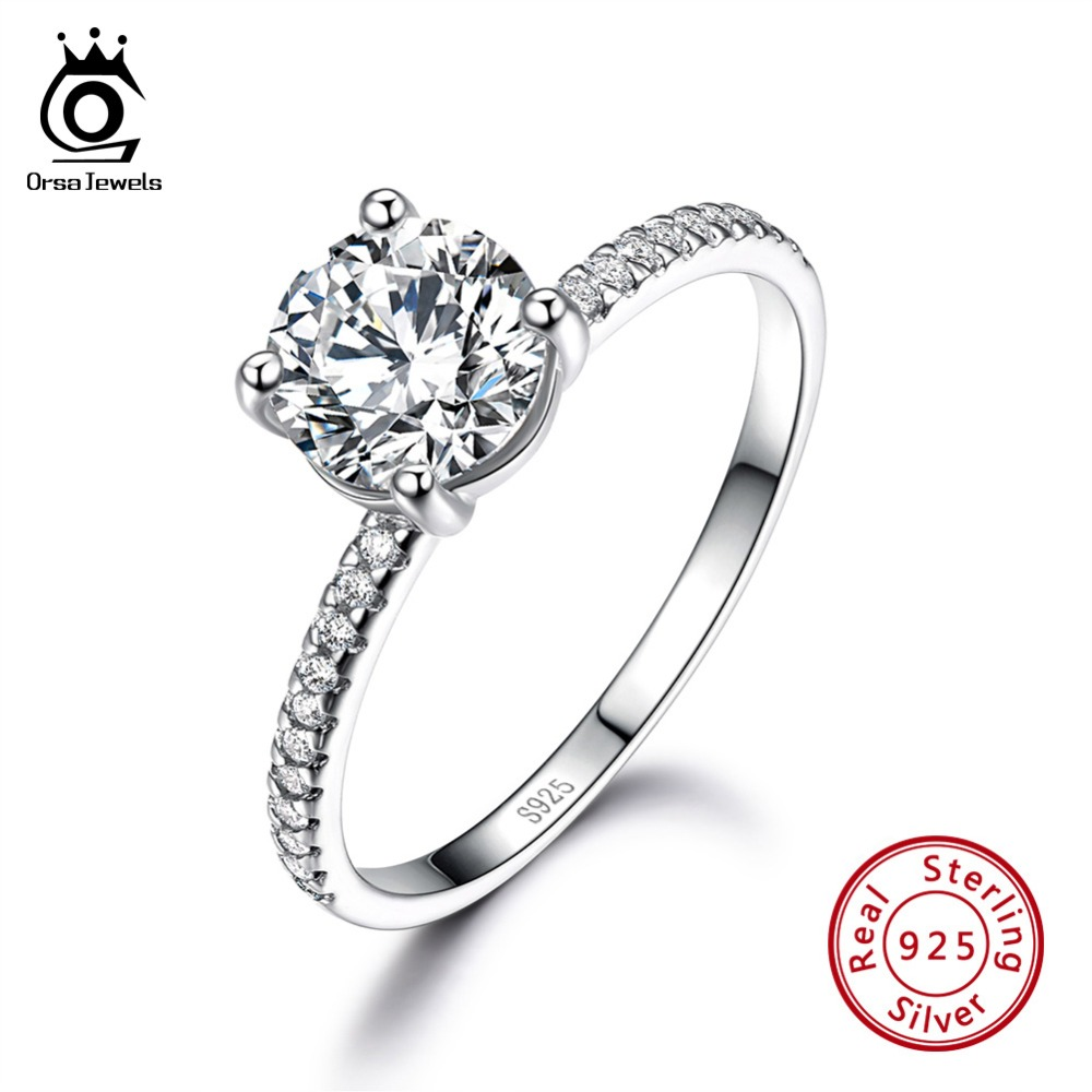 ORSA JEWELS 100% Solid 925 Sterling Silver Women Rings Engagement & Wedding Ring AAA Shiny CZ Female Fine Jewelry Gift VSR11ORSA JEWELS 100% Solid 925 Sterling Silver Women Rings Engagement & Wedding Ring AAA Shiny CZ Female Fine Jewelry Gift VSR11