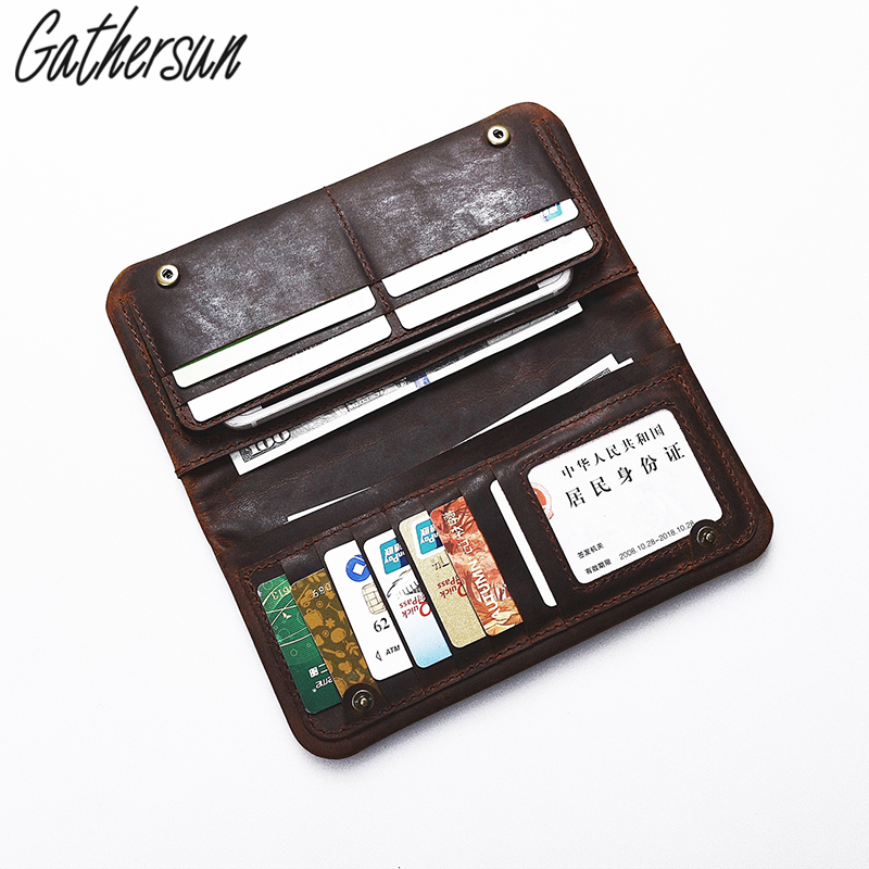 Gathersun New Arrival Genuine Leather Men Wallet Men's Long Purse Cowhide Leather Big Capacity Wallet With Cell Phone Pocket casual leather men purse hasp long mens wallet with cell phone pocket cowhide patent leather male cluth photo holder wallet