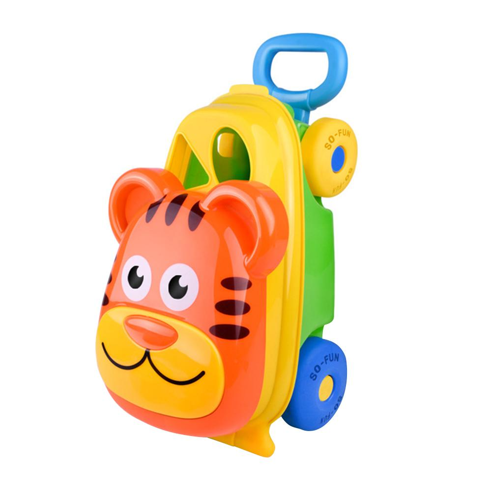 14 PCS Kids Beach Case Trolley Buggy Beach Sand Toys Set Kids Outdoor Toy Beach Trolley Case Toy Storage, Easy To Carry