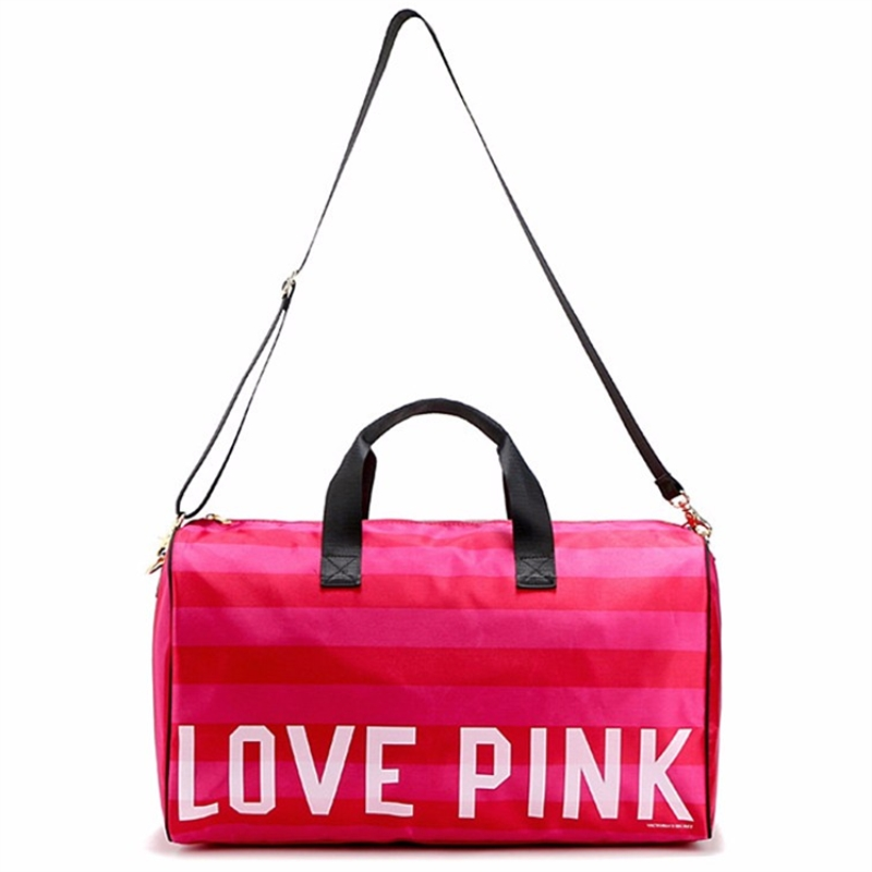 Women Fashion Y Love Pink Handbags Barrel Shaped Large Capacity Travel Duffle Striped Waterproof Beach Bag Shoulder W54 In Bags From Luggage