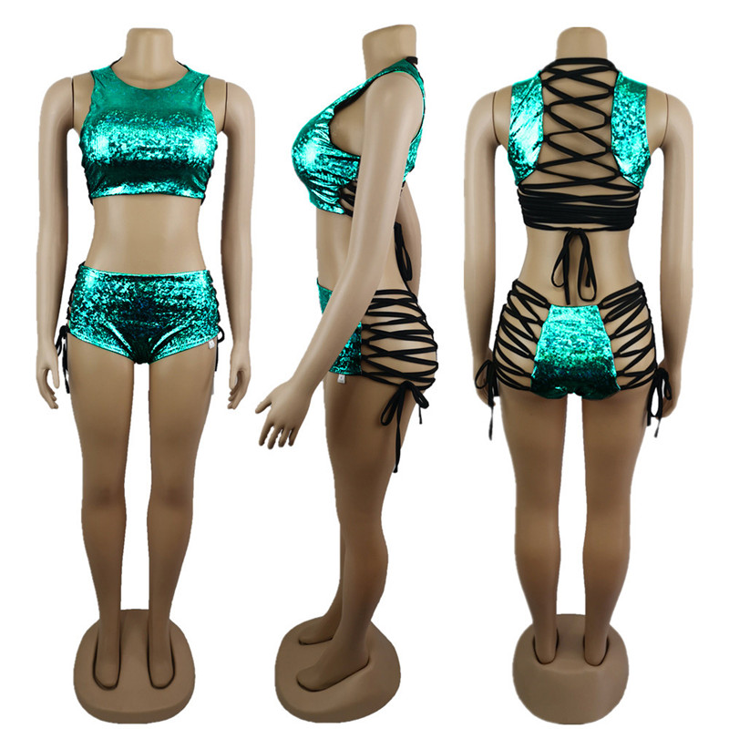 Festival Queen Holographic Crop Top and Hot Shorts Women 2 Piece Sets Sexy Lace Up Festival Party Rave Clothing Two Piece Set 10