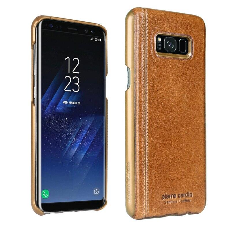 bilder für Luxus pierre cardin für samsung galaxy s8 plus case abdeckung vintage echtem leder case für samsung galaxy s8 kanten phone fällen