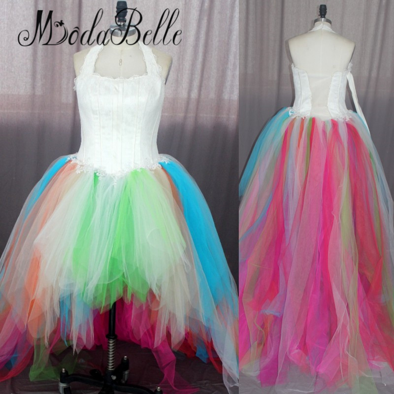 Real Fairytale Weddings: Real Photo 2017 Fairytale Rainbow Wedding Dress Beach Sexy