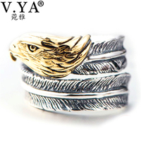 V YA Real 925 Sterling Silver Eagle Head Rings For Men Thai Silver Vintage Style Open
