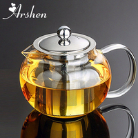 Arshen Durable 3 tamaños de vidrio resistente al calor té maceta flor té juego Puer tetera café tetera conveniente con infusor Oficina A casa