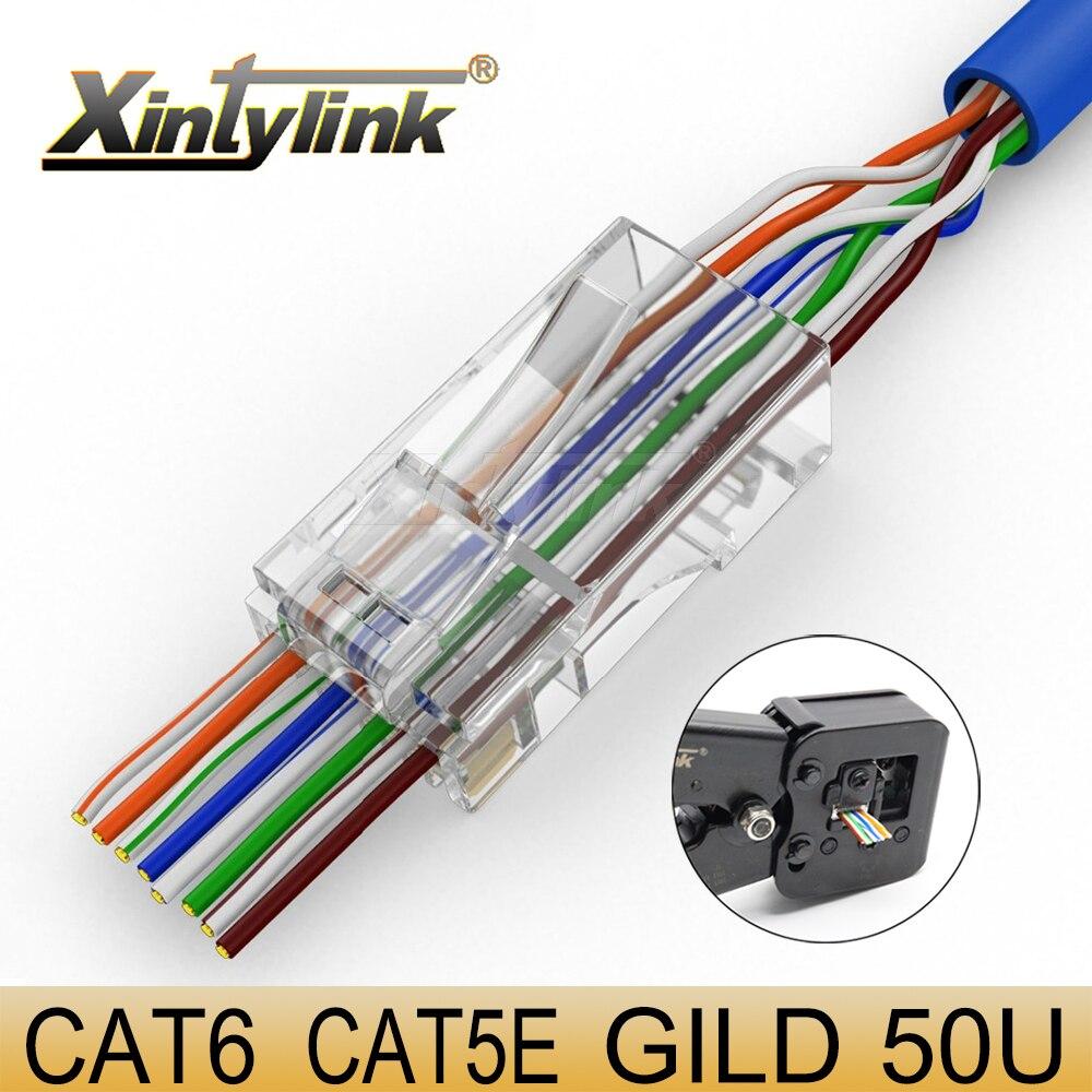 Xintylink ez rj45 conector cat6 rg rj 45 cabo ethernet plugue cat5e utp 8p8c cat 6 conector de rede lan jack cat5 50/100 pces 50u