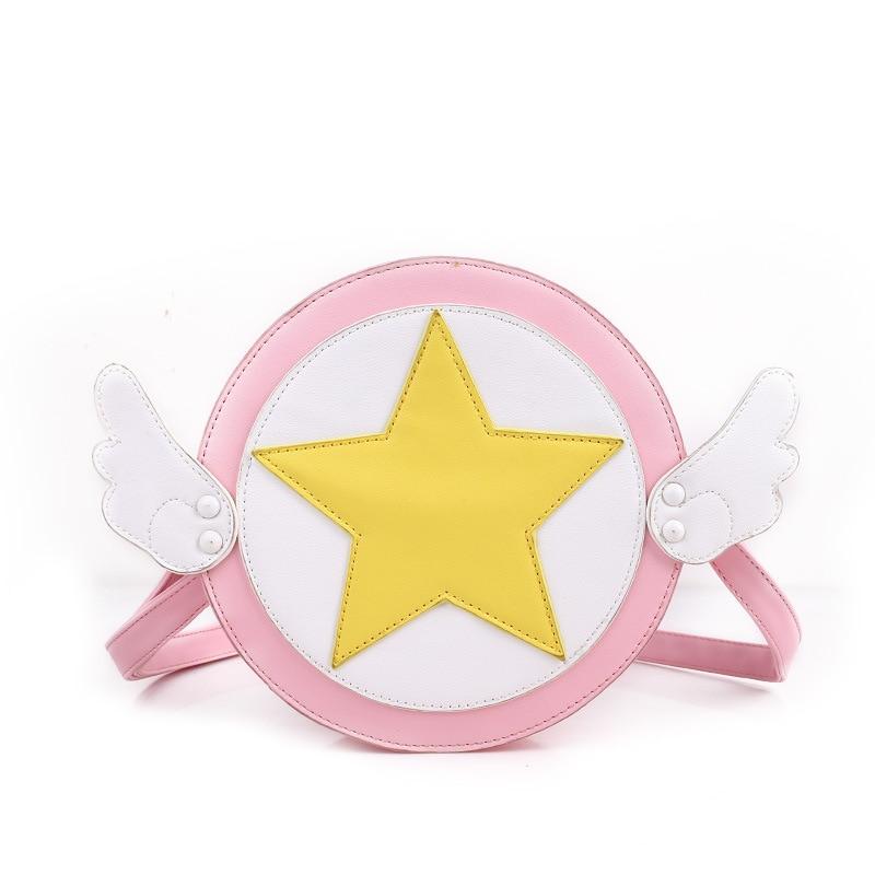 SAKURA cosplay Korean version Lovely casual Handbags Shoulder bags pink color Star wings logo mini Cartoon Oblique cross package