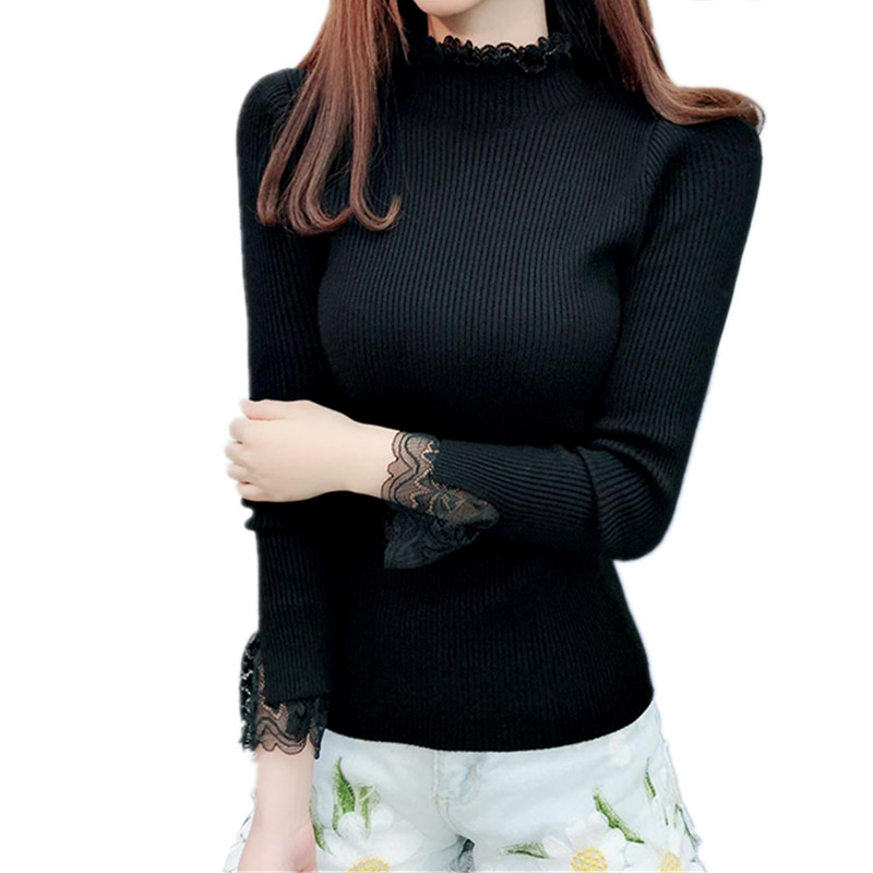 Dynamic B2519 Autumn Winter 2019 New Womens Fashion Lace Pure Color Thickset High-necked Long Sleeve Knit Sweater Cheap Wholesale To Ensure Smooth Transmission Pullovers Women's Clothing