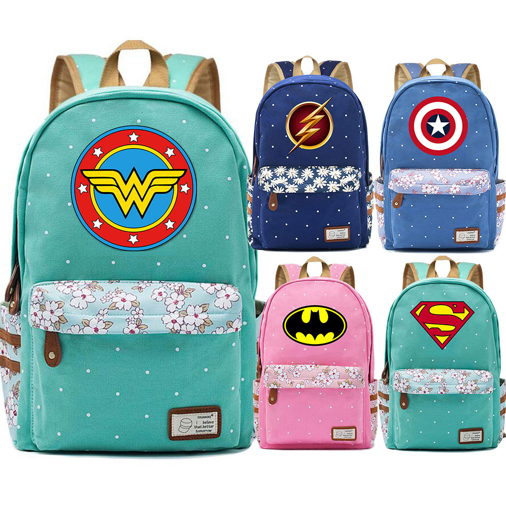 New Superman Batman Captain Marvel Flowers Dot Boy Girl School bag Women Bagpack Teenagers Schoolbags Canvas Lady Femme BackpackNew Superman Batman Captain Marvel Flowers Dot Boy Girl School bag Women Bagpack Teenagers Schoolbags Canvas Lady Femme Backpack