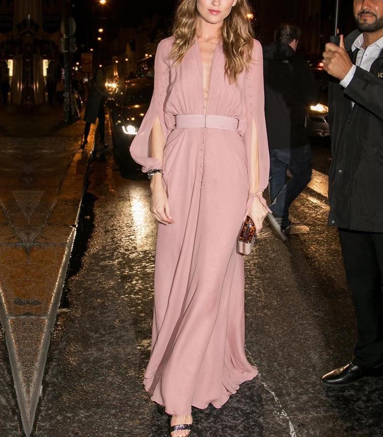 Noble Et Printemps Rose Femmes Robe Col Robes Élégant V Manches Maxi Mince Long Style À Longues Spectacle 0knwX8OP