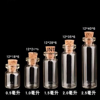 Mini Transparent Bottles With Cork Stopper Capacity For 0.5ml 1ml 1.5ml 2ml 2.5ml 4ml 5ml Glass Jars Wishing Bottle Gifts F1756