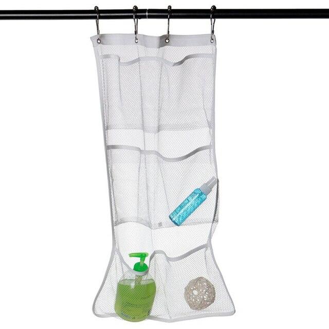 6 Pocket Bathroom Tub Shower Quick Dry Hanging Curtain Rod Liner Hooks Mesh