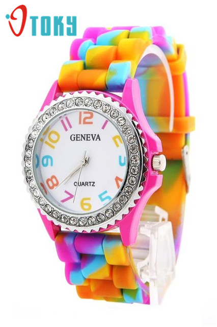 Essential 2018 New Rainbow Crystal Rhinestone Watch Silicone Jelly Link Band Fem