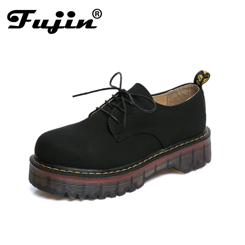 2017 Fashion Women Oxfords Shoes Woman Casual Solid Lace Up Round Toe Platform Flats Spring Autumn Cross Tied Shoes for Lady