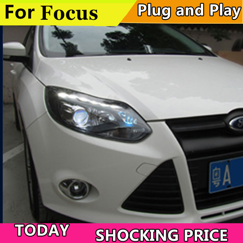 Car Styling for Ford focus ST Headlights 2012-2014 focus ST LED Headlight DRL Lens Double Beam H7 HID Xenon bi xenon lens auto lighting style led head lamp for mazda 3 axe headlights for axela led angle eyes drl h7 hid bi xenon lens low beam