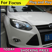 doxa Car Styling for Ford focus ST Headlights 2012-2014 focus ST LED Headlight DRL Lens Double Beam H7 HID Xenon bi xenon lens