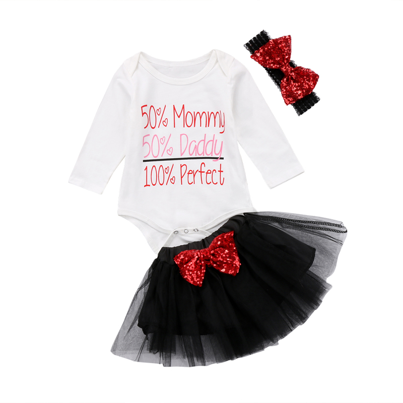 New Fashion Newborn Baby Girl Clothes Long Sleeve Sequin Romper Top Lace Skirt Outfits Headband Set Clothes 0-2T