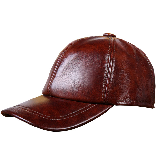 4837a6fb2e7 Genuine Cow Leather Baseball Caps Cowhide Men s Genuine Leather Baseball Hat  Leisure Hat Adjustable B-7256
