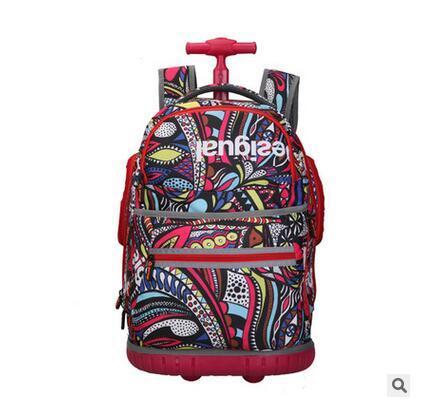 Школа багажа перемещения тележки Рюкзаки на колесах Вагонетки Школы Сумки для подростка девушки Mochilas на колесах Оксфорд Прокатки Мешок