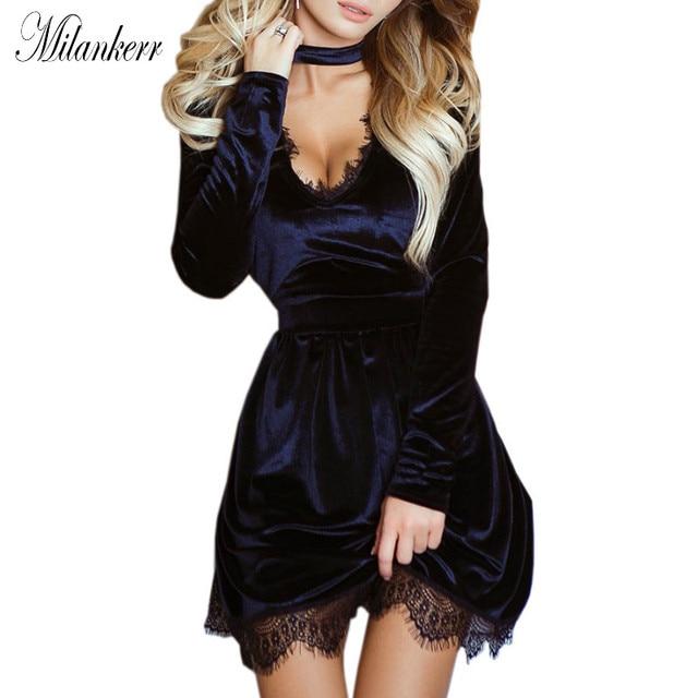 e8b3f3ecdd4 Women Lace Trim Velvet Dress Choker V-Neck Long Sleeve Party Sexy Club Mini  Dress Velour Fit and Flare Dress