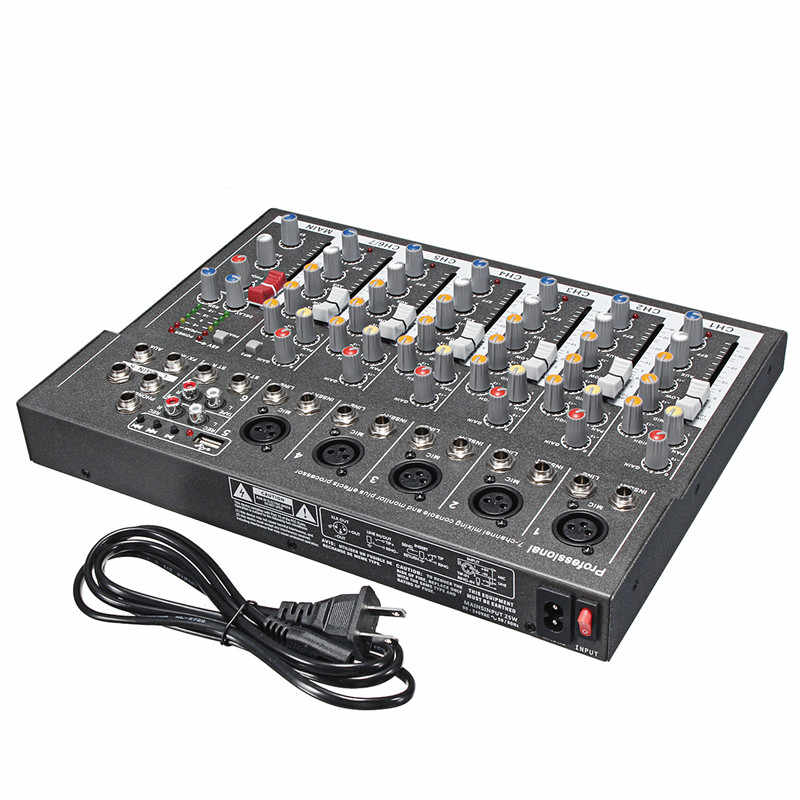 LEORY профессиональная DJ микшерная консоль USB 48 В мини 7 каналов для студий с живым звуком аудио миксер KTV сетевая Звуковая Карта звуковая консоль миксер