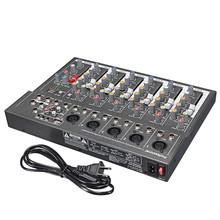 LEORY Professional DJ Mixing Console USB 48V Mini 7 Channel Live Studio Audio Mixer KTV Network