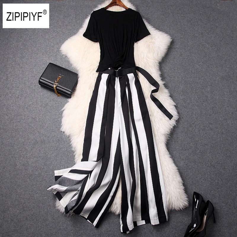 Short Sleeve Top+Wide Leg Tie belt Pants Women's Pant Suits White Black Striped Slit Trouser Suits For Women 2 Piece Set B1207 cropped wide sleeve top