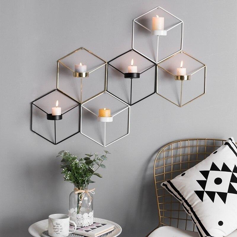 LA MIU Nordic Style Metal Iron Geometric Candlestick Wall ... on Metal Candle Holders For Wall id=20462